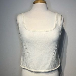 St. John Cropped Ivory Tank Top Sweater Small